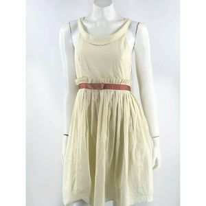 Aryeh Dress Sz Large Cream Brown Fit Flare Pleated